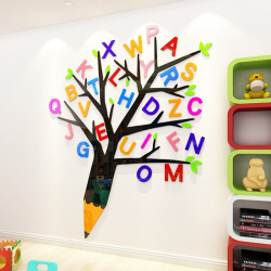 Letter With Pencil Tree Acrylic Wall Art