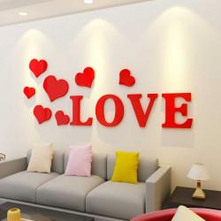 Flying Hearts With Romantic Love Acrylic Wall Art