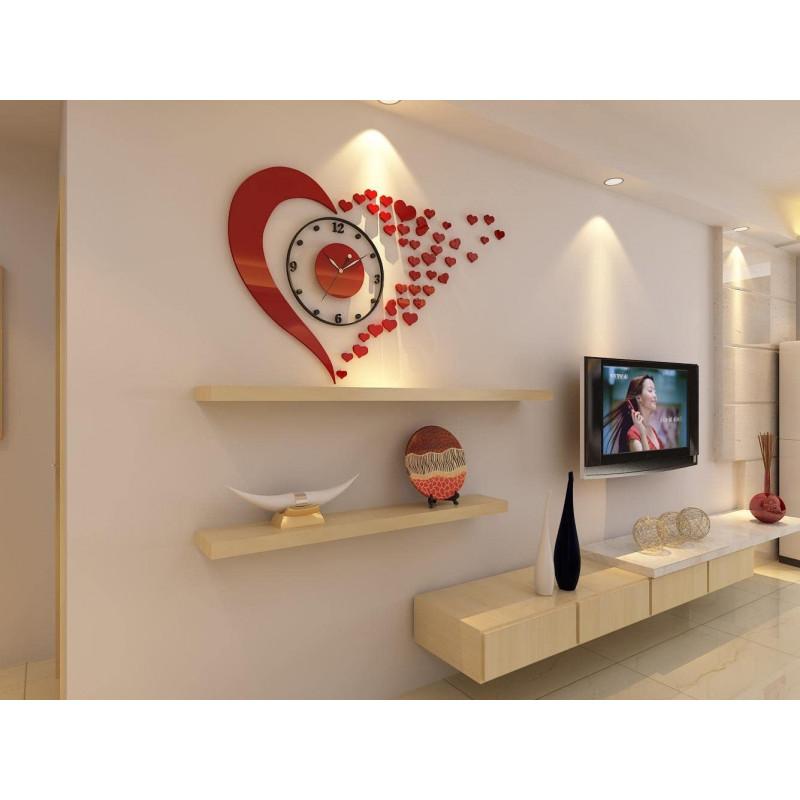 Fluttering Hearts Acrylic Wall Clock
