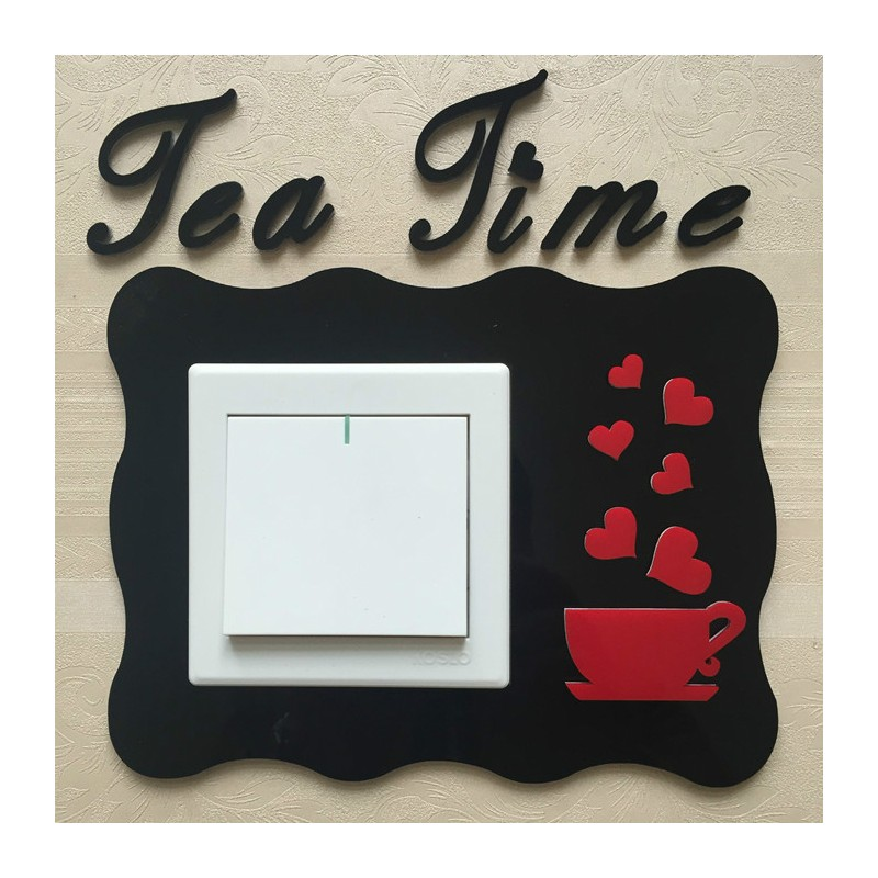 Tea Time Black Acrylic Switch Panel Art
