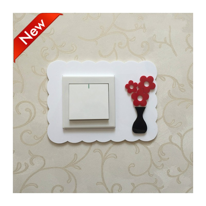 Flower White Acrylic Switch Panel Art