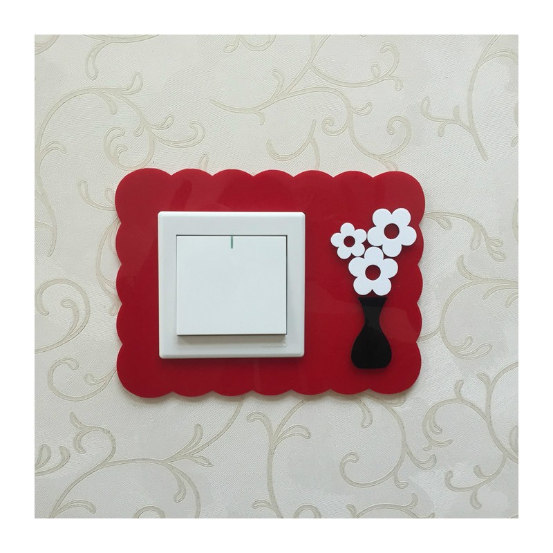 Flower Red Acrylic Switch Panel Art