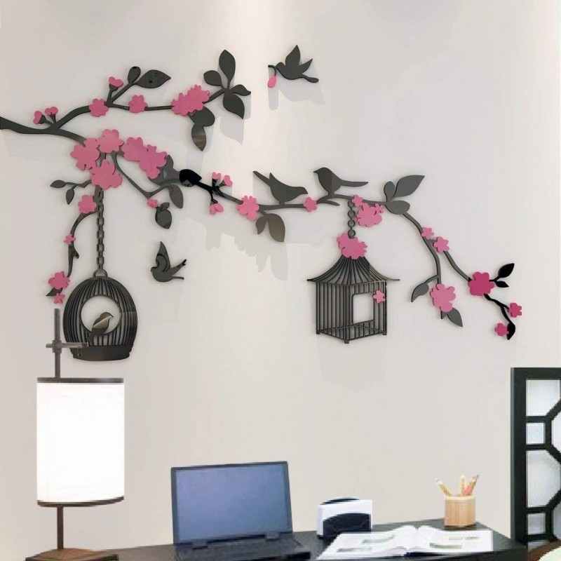 Birds Cage with Flowers Acrylic Wall Art