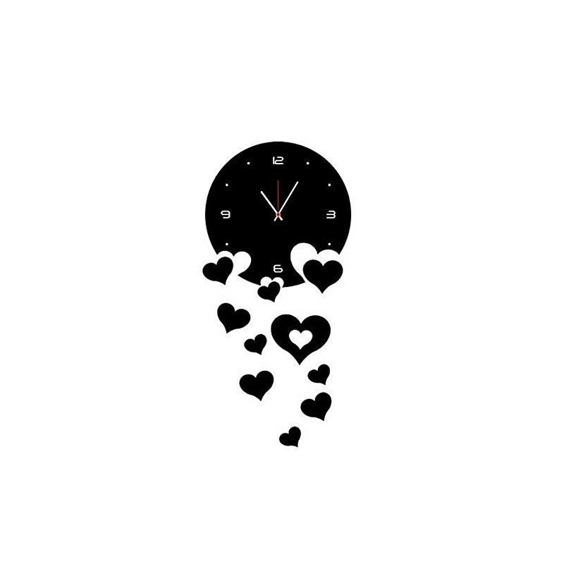 Falling Hearts Acrylic Wall Clock