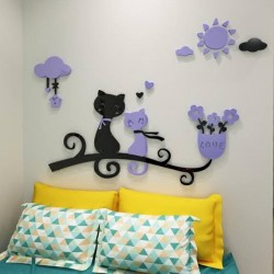 Cute Cat Couple Acrylic Wall Art
