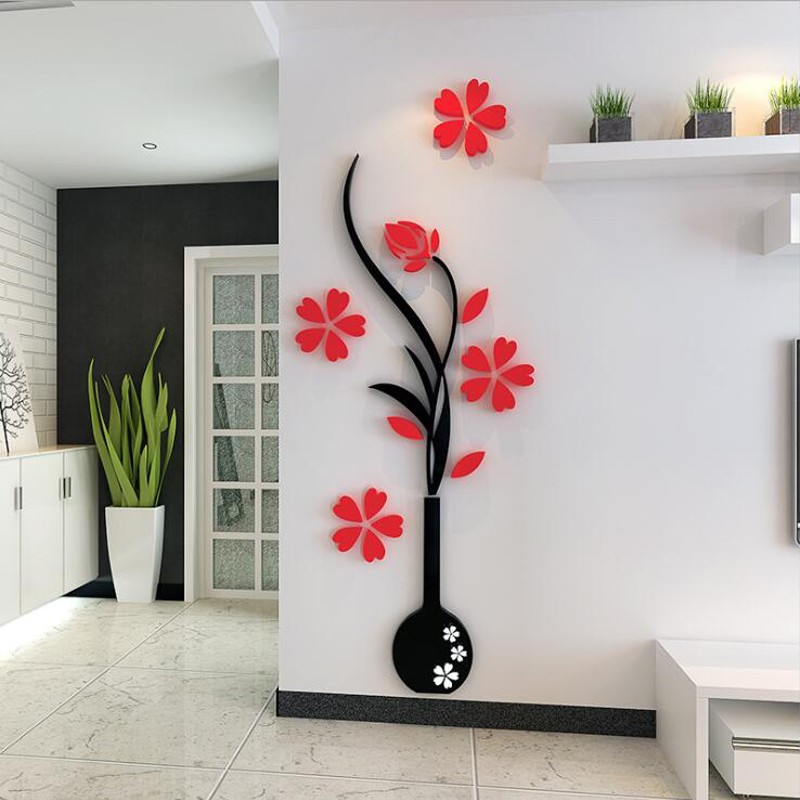 Vase Plum Flower Acrylic Wall Art