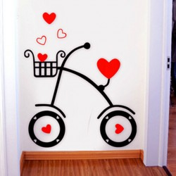 Love Hearts Bicycle Acrylic Wall Art
