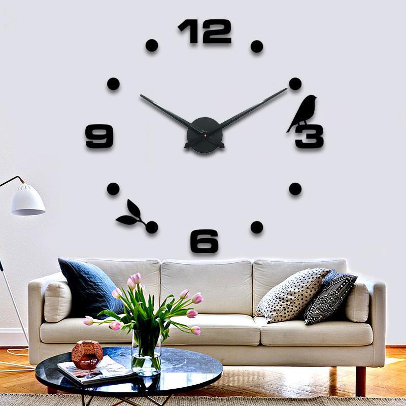 Bird And Leaf Acrylic Wall Clock